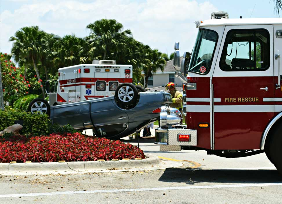 Car accident with emergency vehicles