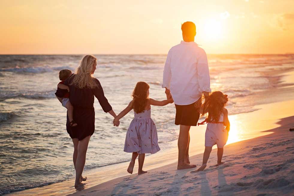 Family walking- on beach